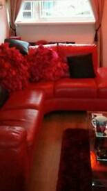 Red leather corner suite