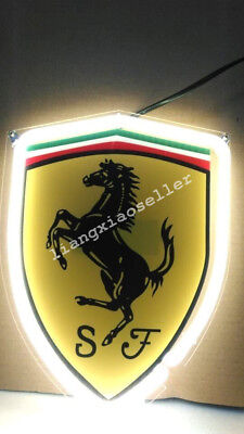 Ferrari Racing Horse Logo Silk-screen Beer Bar Mancave Real Neon Sign Free ship