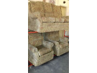 Beige Floral Suite. 3 Seater Settee & 2 Chairs. Excellent Condition. Local Delivery. . . .