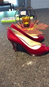 Brand new Enzo Angiolini Candy Apple Red Peep Toe heels