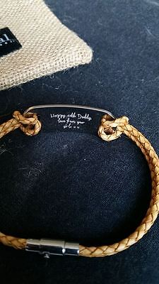 Personalised Engraved Mens Brown Leather & Stainless Steel Bracelet
