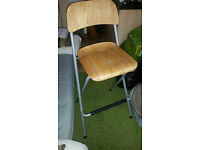 2 x Solid Wood Foldable High Barstools, bar chairs, kitchen counter chair £2 for both.
