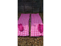 2 X PINK SINGLE SLEEPING BAGS - £5 EACH