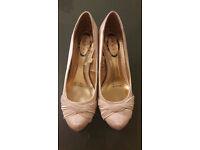 Debut, ivory satin heels. UK size 4.