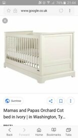 Mamas & Papas Orchard Cot Bed in Ivory with NEW, UNUSED, STILL WRAPPED MATTRESS!