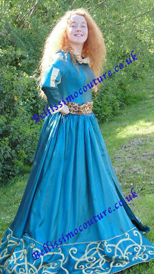 Disney Brave Princess Merida costume adult SIZE 6,8,10,12,14,16 Teal colour