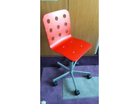 Ikea children's desk chair swivel chair red