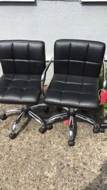 BLACK FAUX LEATHER SWIVEL CHAIRS £15 EACH