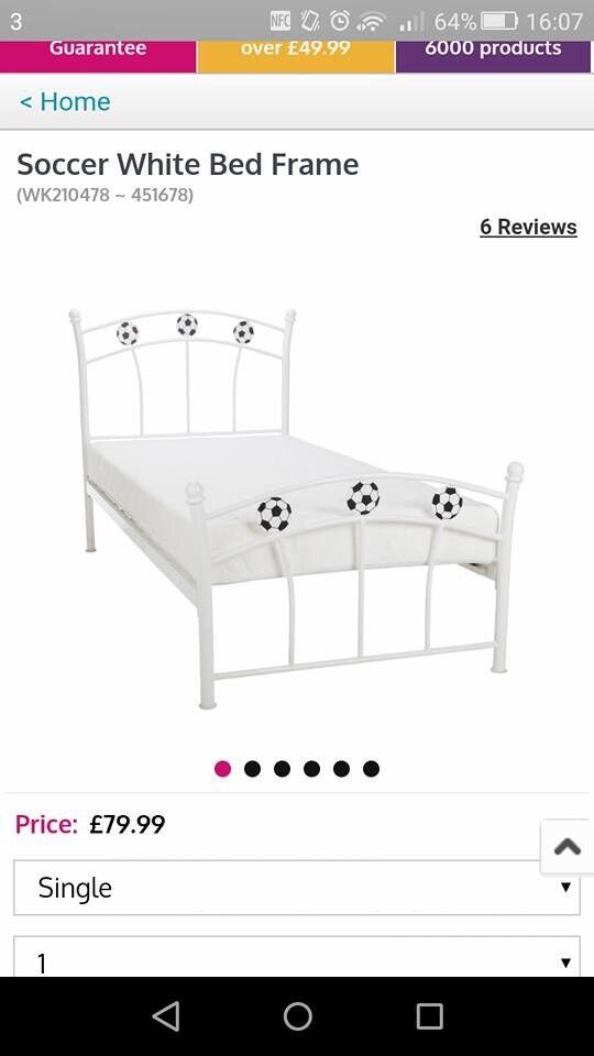 White Football Single Bed Frame And Matteress In Newport Gumtree