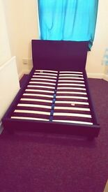 New Brown Leather Bed Frame and Mattress