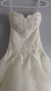 Lace drop waist wedding dress