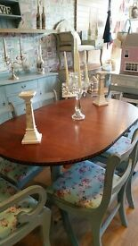 Elegant Dining extendable table a 6 chairs shabby chic stunning