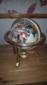 Gold Plated Mother Pearl World Globe