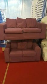 3 & 2 purple fabric sofas with scatter cushions