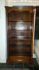 Very good quality tall dark wood bookcase
