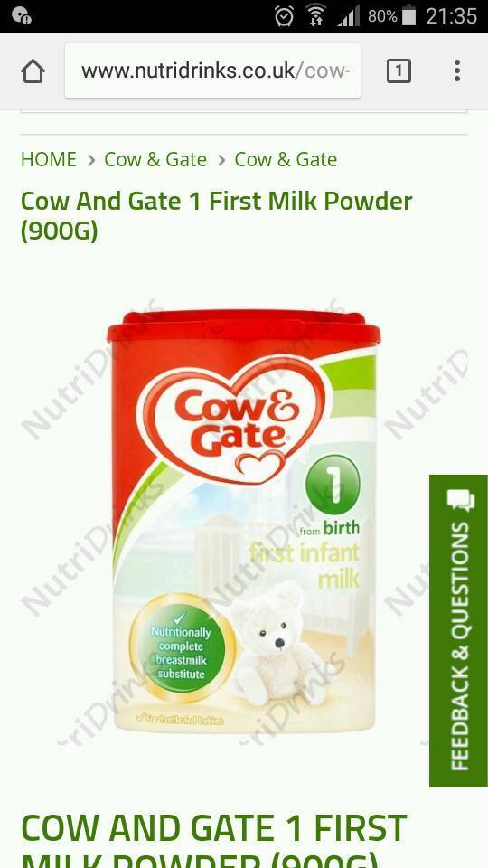 20 x Cow and gate from birth 1 first milk powder 900g