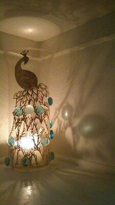 ONE Tall Glass Art Work GOLD PEACOCK Candle Holder Tea light Dinner Light & Gift - Peacock Candles