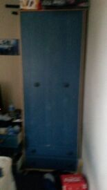two blue double wardrobes from argos excellent condition £40 or £20 each. can not deliver