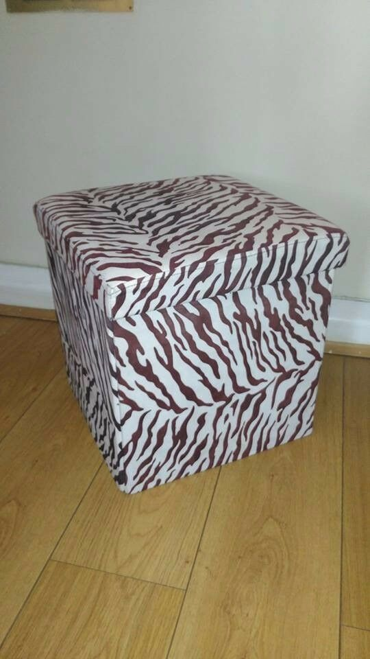 BROWN/WHITE ZEBRA STORAGE STOOL/SEAT