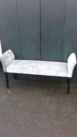 Silver grey velvet chaise