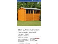 6x12ft Garden Shed - brand new