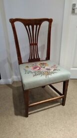 Antique Splat Back Hall / Side Chair with Tapestry seat