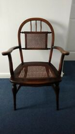 Vintage Elm Country Armchair with Cane Seat and Back