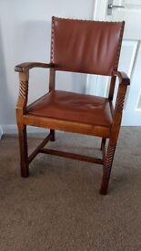 Antique Solid 1930'S Oak Elbow / Desk Chair.