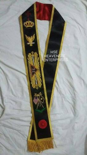 HAND EMBROIDERED SCOTTISH RITE 32 ND DEGREE SASH UP WINGS-HSE