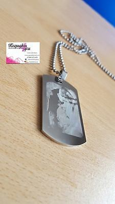 Christmas Gift For Daddy To Be Engraved Dog Tag With Scan Photo  & Chain