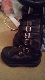 Demonia Neptune 100 Boots Size 10 ( PU Vegan Vegetarian Ethical Goth Punk Rock Metal )