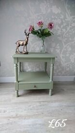 Lovely Side Table with Drawer Hand Painted In Annie Sloan Chalk Paint Chateau Grey