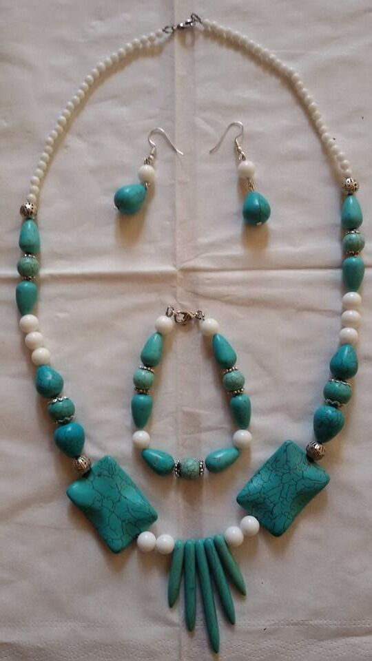 Necklace + bracelet + earrings with white calcite,turquoise gemstones and metal beads