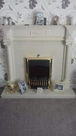 Marble and Wood Fire Surround & Fire