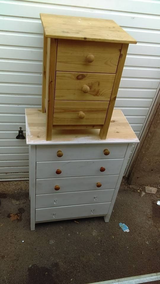pine chest of drawers and pine bedside cabinet - free delivery