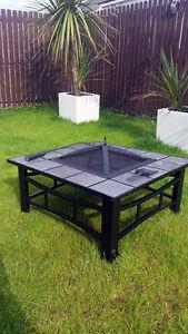 ... Extérieur Chauffe Terrasse Poêle Foyer Carrée Brasero Table  eBay