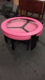 Black & Pink Coffee Table With 3 Pullout Side Tables