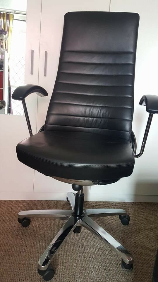Used Konig Neurath Black Leather Office Chair