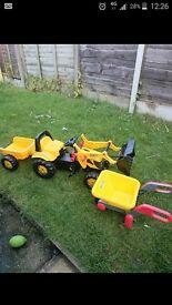 tractor and wheel barrow