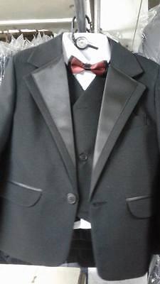 Einfache Kostüme Männlich (Jungen einfach schwarz Smoking Anzug & Fliege Party Kostüm Abiball size1-15)