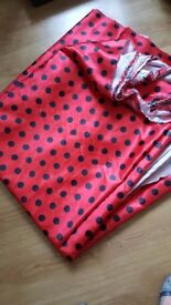 16 meters of 60 inch wide satin. red with black dots. New
