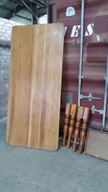 Farmhouse large pine dining table with 2 draws AND 6 CHAIRS