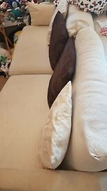 3 Seater Cream Fabric Sofa £50
