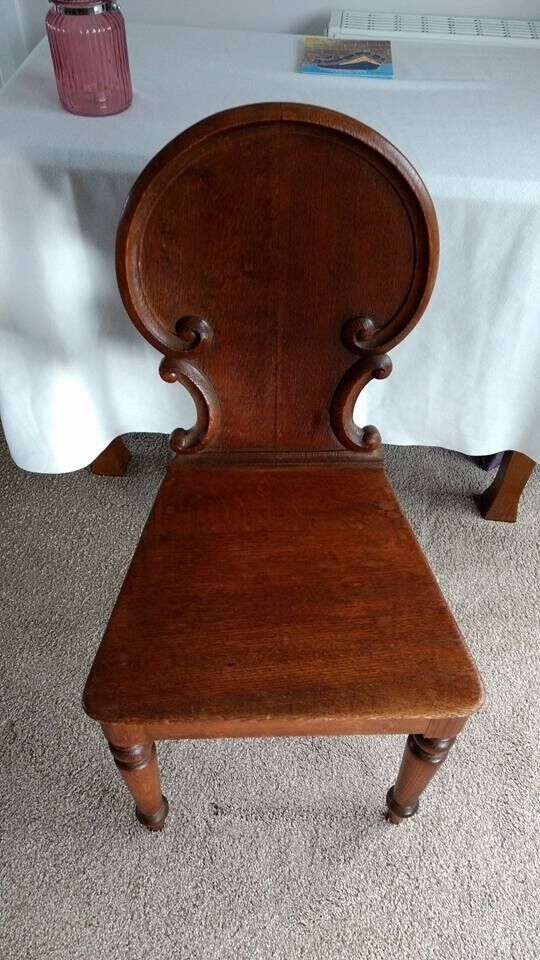 Antique Victorian Oak Carved Hall Side Chair In
