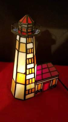 Vtg Tiffany Style Stained Glass Lighthouse Accent Table Lamp Night Light 9.5