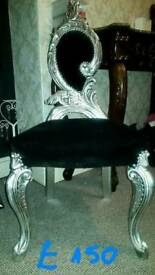 Armchair chair throne rococo baroque antique french ornate silver leaft
