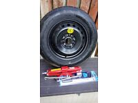 Spare spacesaver spare wheel for Nissan Qashqai. , Juke. Complete with jack and brace.