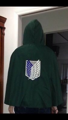 Attack on Titan Cloak SNK AOT Anime Cosplay Halloween One Size Green Survey Corp