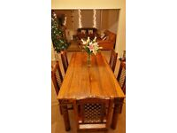 Large rustic dining table with 6 chairs, jali sheesham wood