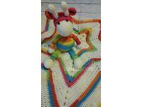 crochet star blanket and giraffe toy